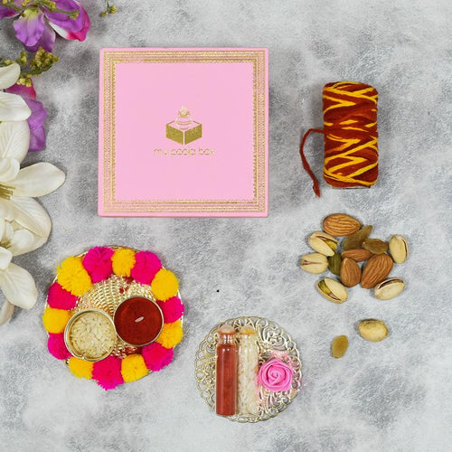 Light Pink Bhai Dooj / Tika Petite Box with Dry Fruits