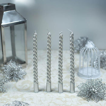 Glittering Silver Candle Sticks (Set of 4)