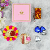 Light Pink Bhai Dooj / Tika Petite Box with Chocolates