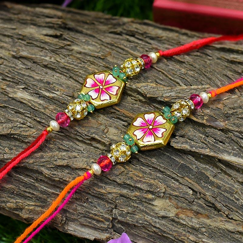 Hand painted Floral Rakhi (Set of 2)