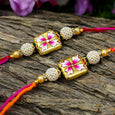 Hand Painted Floral Square Rakhis (Set of 2)