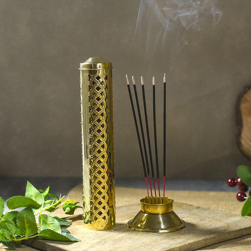 Handmade Brass Agarbatti Incense Holder with Wavy Latticework