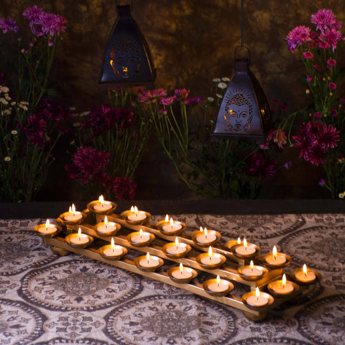 Roshana 3 Layer Twinkling Diya Rectangle Stand