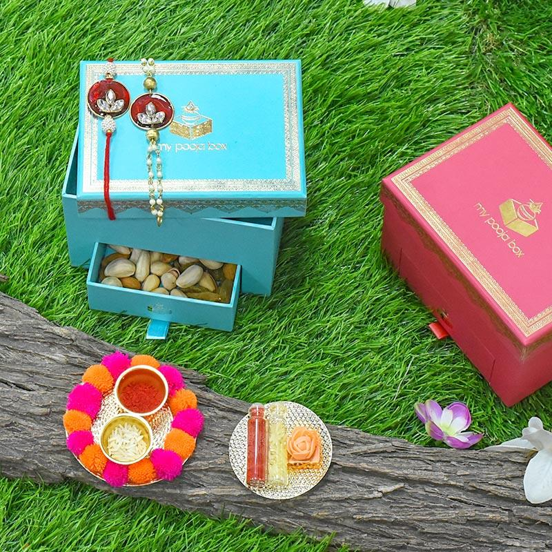 Bejewelled Red Bhaiya Bhabhi Rakhi Box