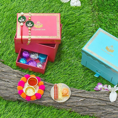 Bejewelled Green Bhaiya Bhabhi Rakhi Box