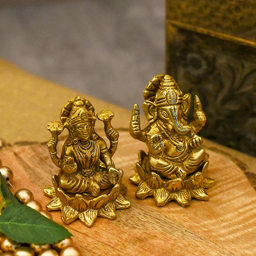 Impressive Lord Ganesha & Laxmi on Lotus Brass Figurine