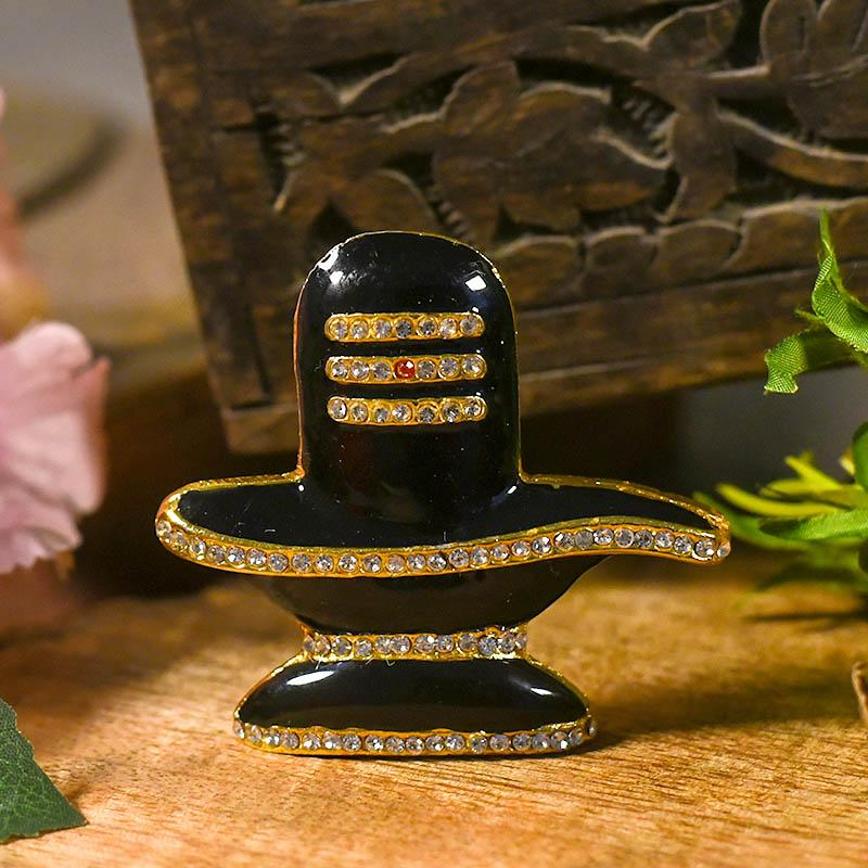 Crystal Diamond Studded Shivling for Car Dashboard