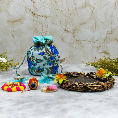 Bhai Dooj Tika Blissful Blue Potli with Dry Fruits