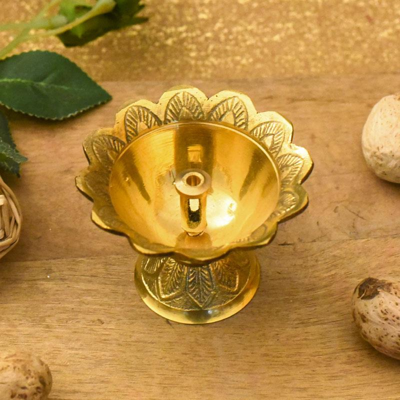 Traditional Handcrafted Brass Floral Diya with Floral Carvings