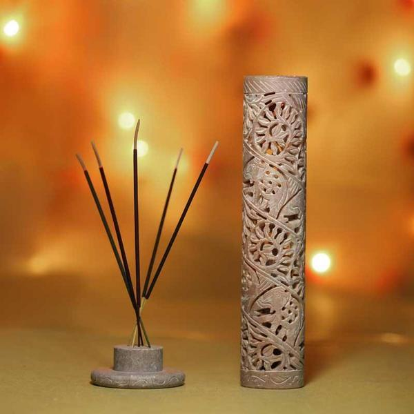 Handcrafted Multipurpose Marble Incense Holder with Exquisite Artwork