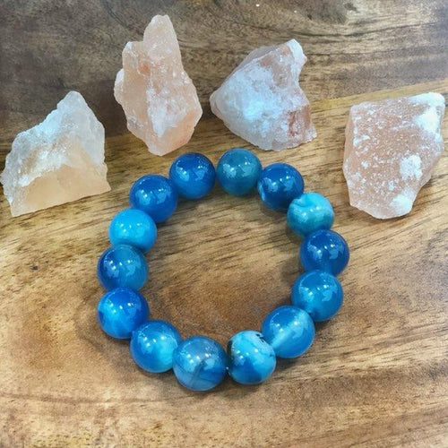 Blue Gemstone Onyx Strength of Mind Band/ Bracelet