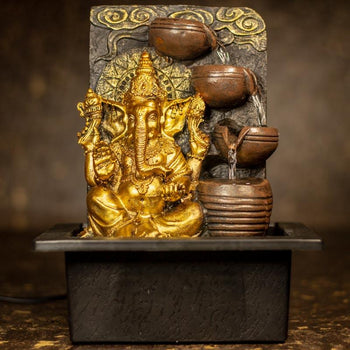 Beautiful Ganesh with 4 Vessels Fountain