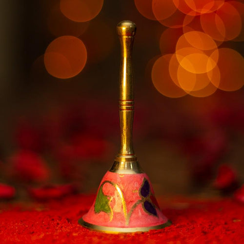 Handcrafted Pink Brass Pooja Bell