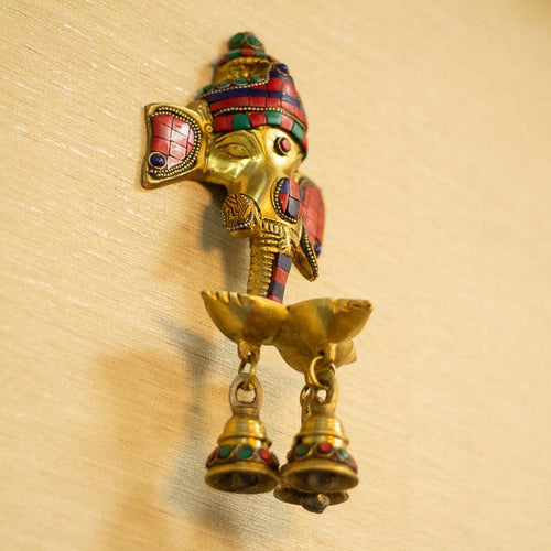 Antique Brass Ganesh Wall Hanging With Deepak & Hanging Bells