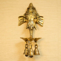 Antique Ganesha Wall Hanging With Deepak & Bells