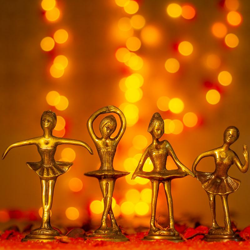 Antique Brass Dancing Girls (Set of 4)