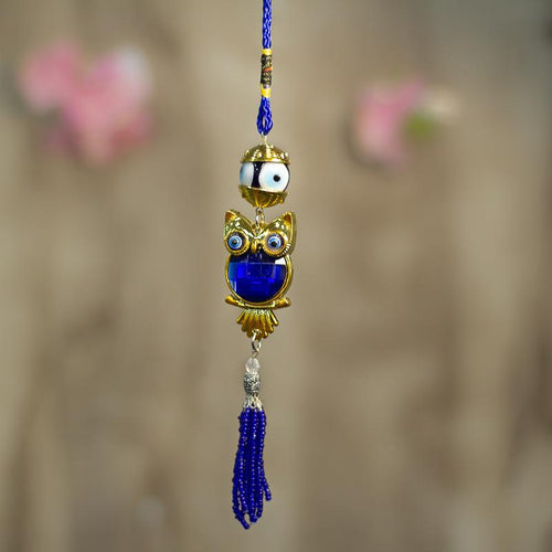 Feng Shui Evil Eye Owl Car Door Hanging with Bead Tassel