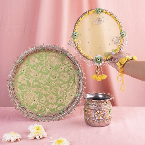 Pastel Yellow Jaipuri Thali Cover