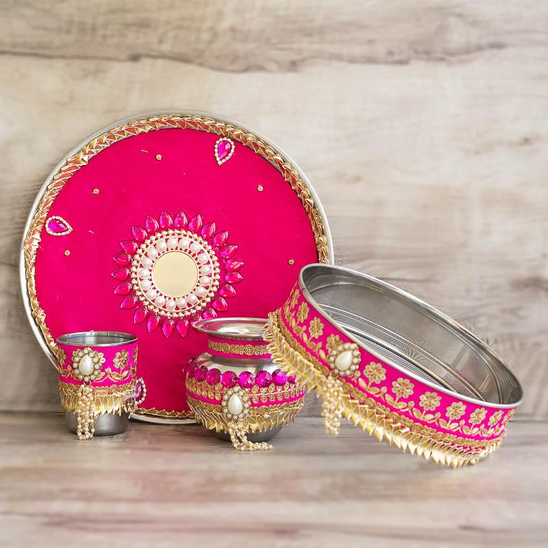 Pink Decorated Karwa Chauth Thali Set