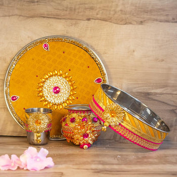 Eye-Catching Golden Pink Pooja Thali Set