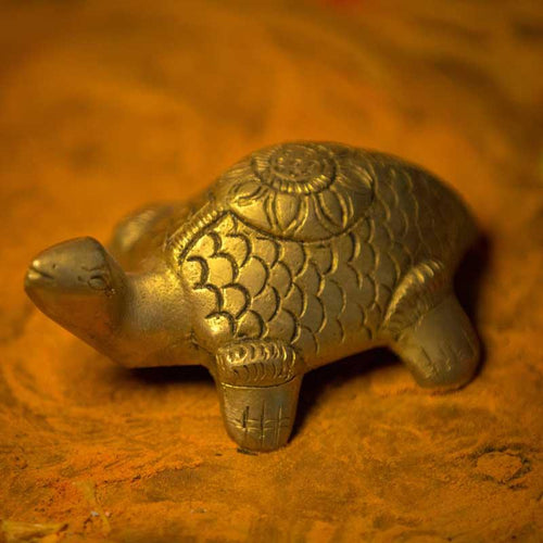 Feng Shui Brass Hammered Tortoise for Good Luck and Longevity