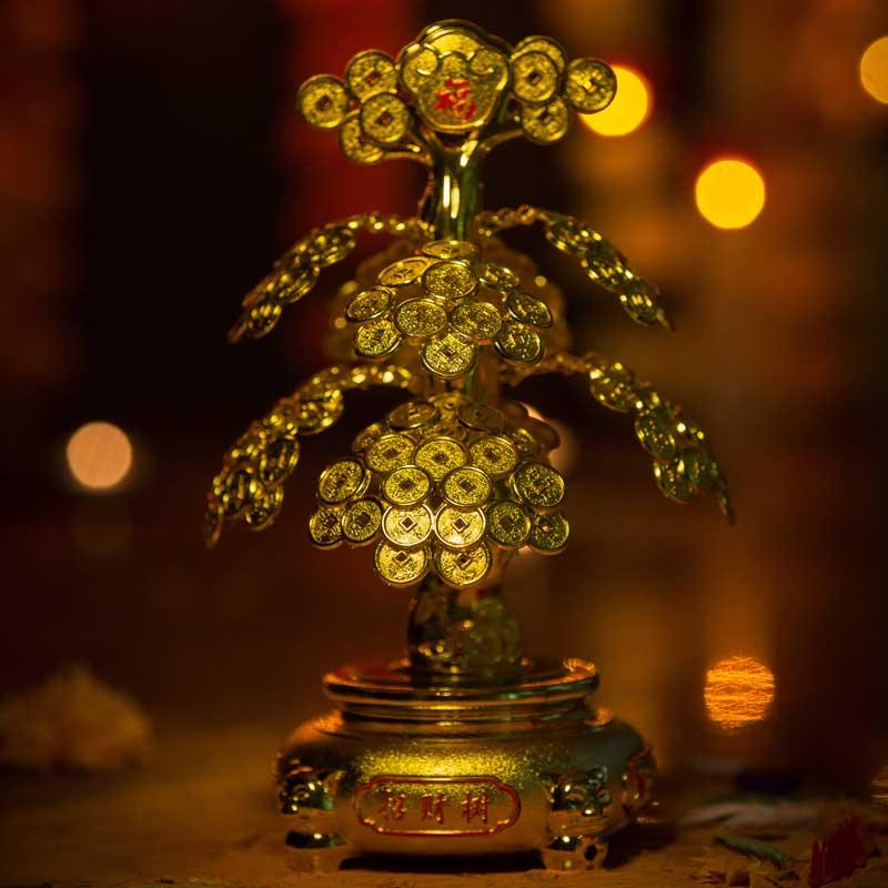 Feng Shui Lucky Bonsai Money Coin Tree with Light for Prosperity