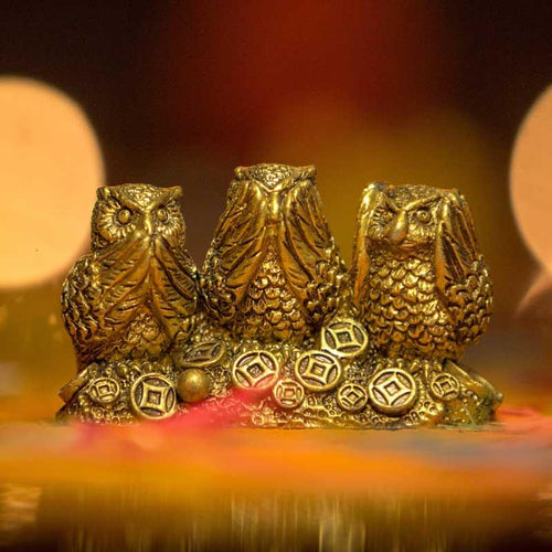 Feng Shui Three Golden Owls for Good Luck and Decoration