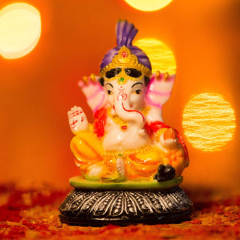 Multicolor Lord Ganesh Murti for Dashboard Home Decor