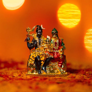 Divine Colorful Diamond Studded Shiv Parivar Statue in Metal