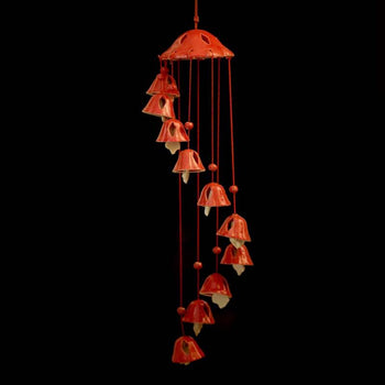 Stunning Handcrafted Ceramic Red Wind Chime