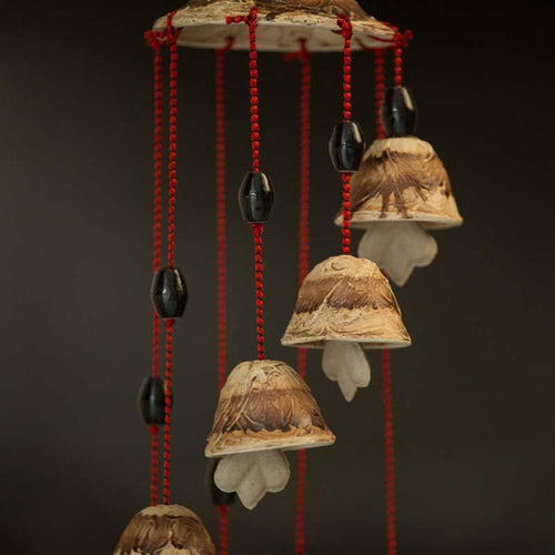 Handcrafted Brown Shaded Ceramic Wind Chime
