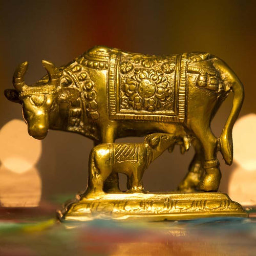 Kamdhenu Cow Brass Idol