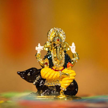 Beautiful Diamond Studded Lord Ganesha Idol with Mouse