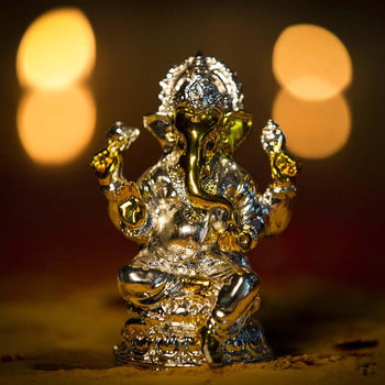Lord Ganesha Golden Silver Clay Idol