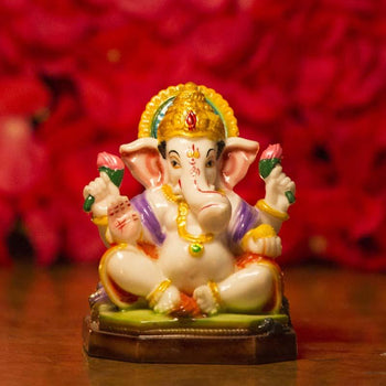 Multicolor Lord Ganesh Murti on Decorated Base for Home Decor