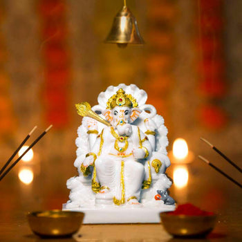 Impressive Lord Ganesh Marble Murti on Throne with Seshnaag