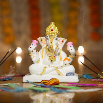 Impeccable White Marble Lord Ganesh Statue with Lotus