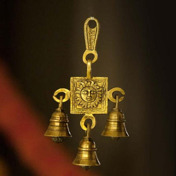 Antique Brass 3 Bells Door/Wall Hanging with Engraved Sun God