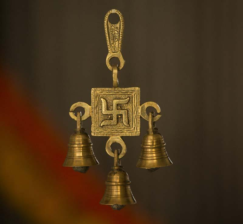 Brass 3 Bells Door/Wall Hanging with Engraved Swastik