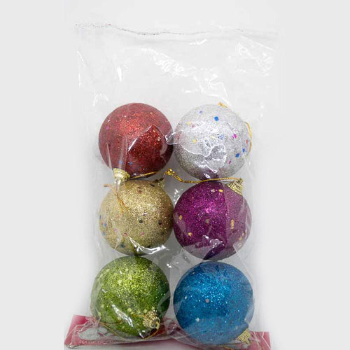 Multicolour Glittered Christmas Tree Hanging Balls