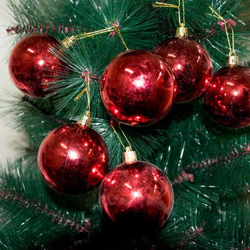 Red Shining Christmas Tree Hanging Balls Ornaments