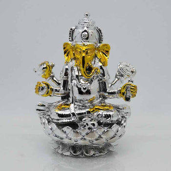 Beautiful Silver-Golden Ganesha Clay Idol on Lotus