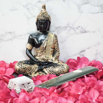 Exquisite Buddha Idol & Multipurpose Incense Holder with Incense Sticks