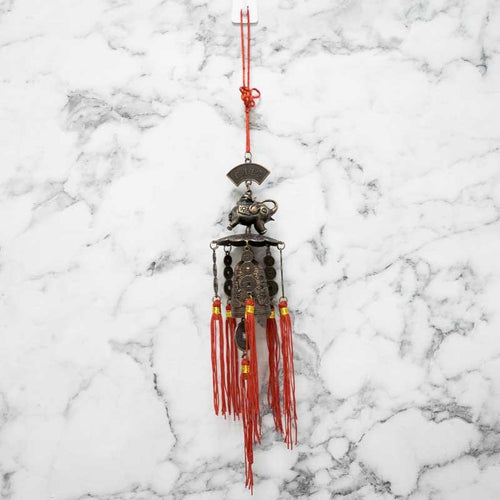 Feng Shui Coins Dragon Bell Elephant Wind Chime with Tassels