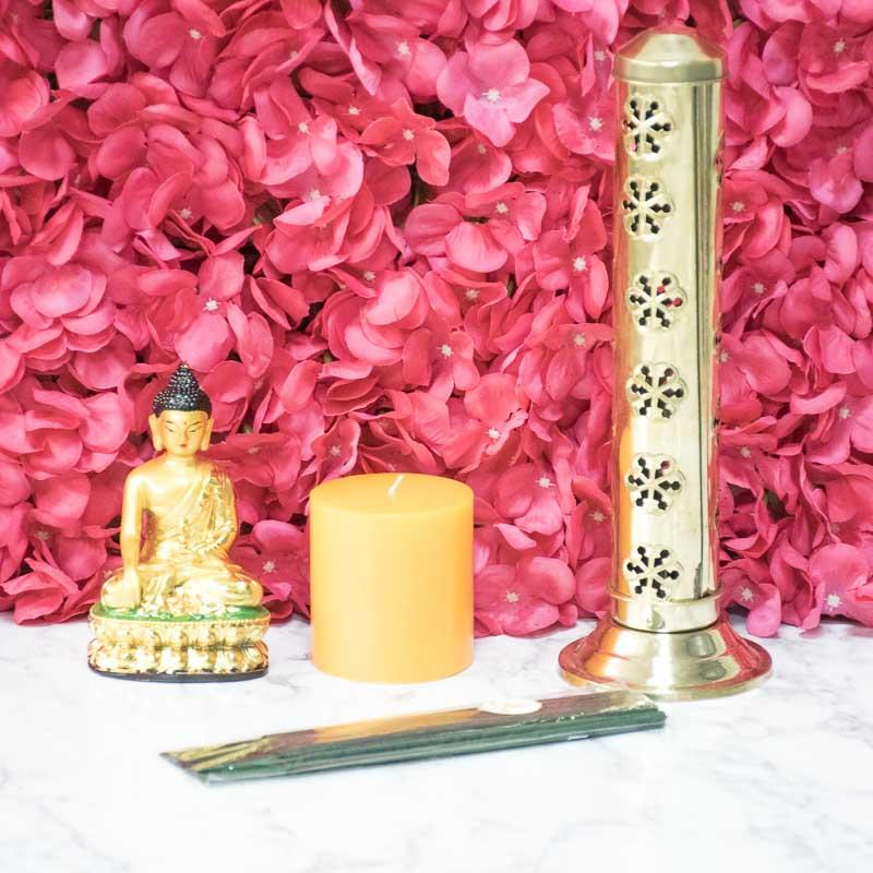 Exclusive Buddha Statue Candle Combo with Incense Sticks & Holder
