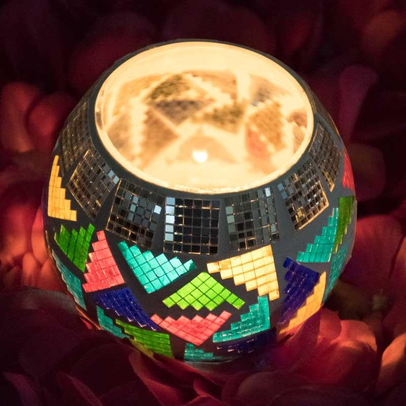Reflective Mosaic Glass Tlight Candle Holder with Digital Pattern