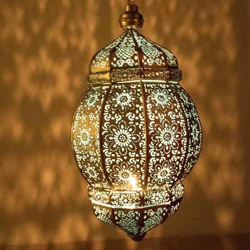 Antique Moroccan Hanging Lantern with Intricate Design