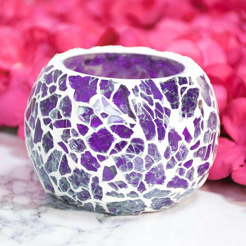 Purple Crackled Matki Candle Holder
