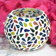 Mosaic Glass Tea-light Candle Holder with Tear Drop Pattern
