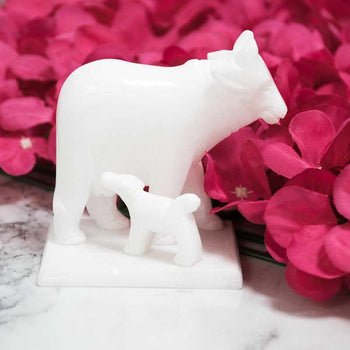 Graceful White Marble Cow and Calf Idol Figurine